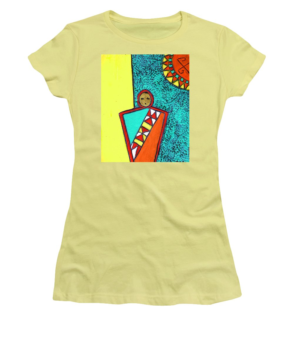 Southwest Women's T-Shirt (Athletic Fit) featuring the painting Golden Child Of The South West by Wayne Potrafka