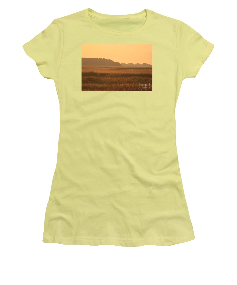 Marsh Women's T-Shirt (Athletic Fit) featuring the photograph Golden Marshes by Nadine Rippelmeyer