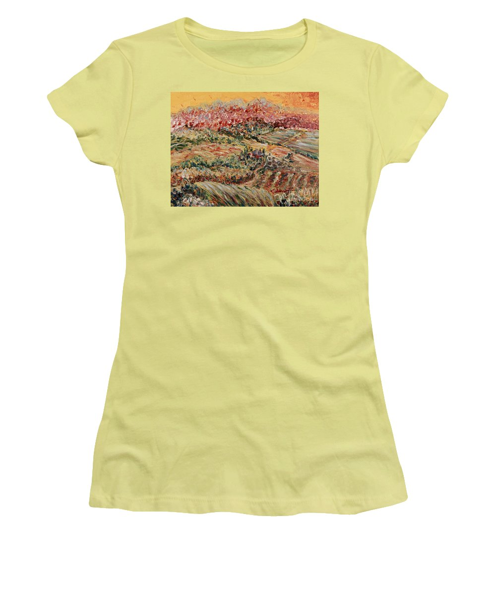Provence Women's T-Shirt (Athletic Fit) featuring the painting Golden Provence by Nadine Rippelmeyer