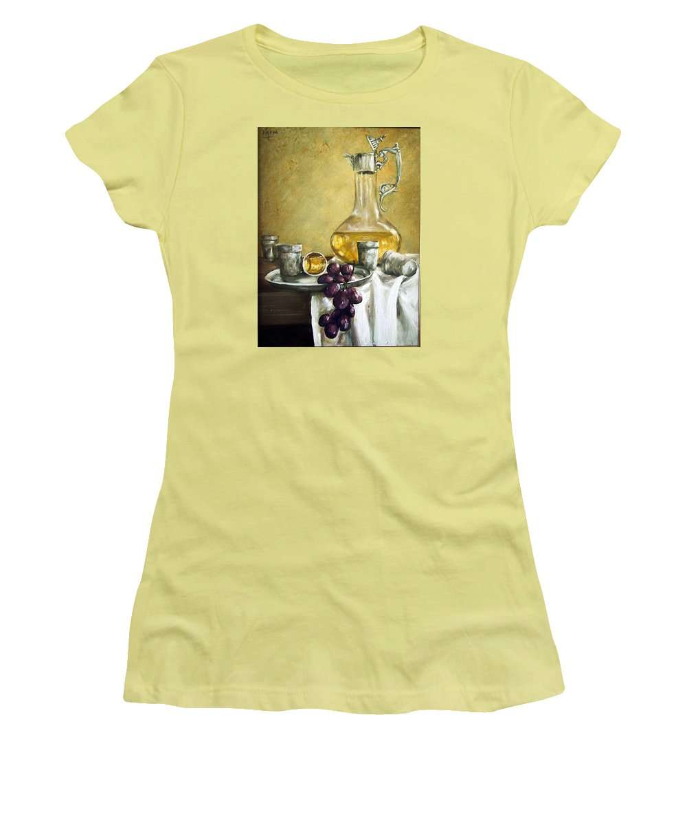 Still Life Cristal Bottle Grapes Fruits Glass Women's T-Shirt (Athletic Fit) featuring the painting Grapes And Cristals by Natalia Tejera