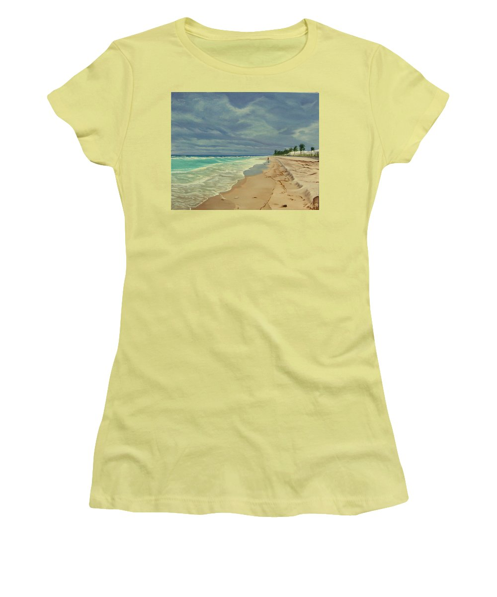 Beach Women's T-Shirt (Athletic Fit) featuring the painting Grey Day On The Beach by Lea Novak