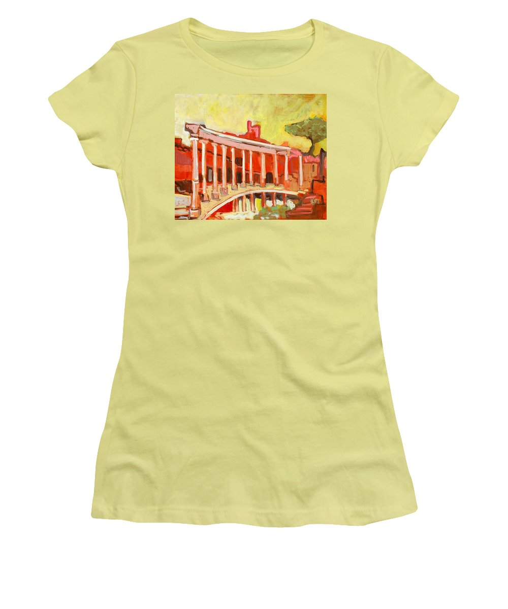 Villa Women's T-Shirt (Athletic Fit) featuring the painting Hadrian's Villa by Kurt Hausmann