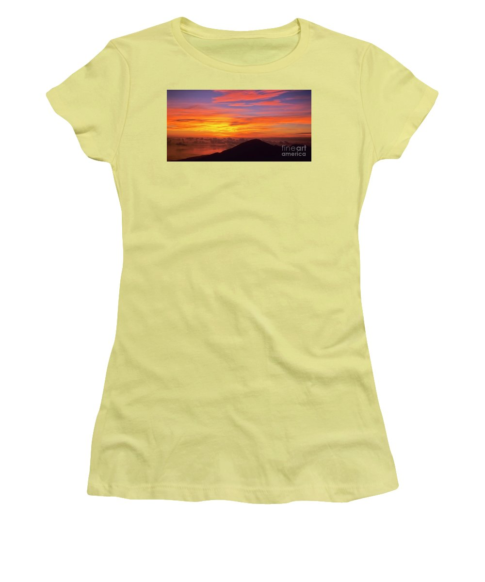 Nature Women's T-Shirt (Athletic Fit) featuring the photograph Haleakala Sunrise Colors IIi by Jim Cazel