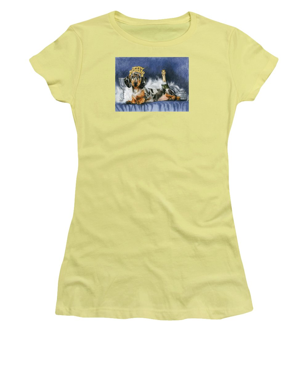 Dog Women's T-Shirt (Athletic Fit) featuring the mixed media Happy New Year by Barbara Keith