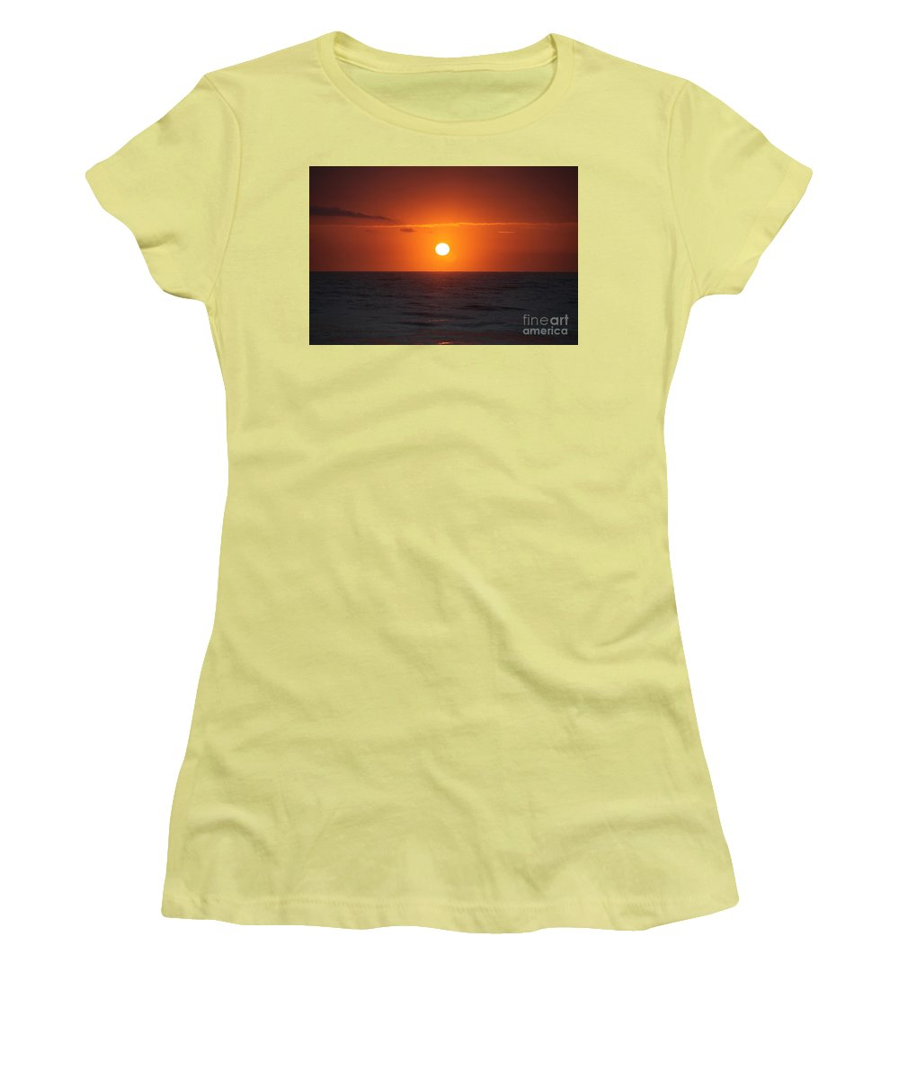 Sunrise Women's T-Shirt (Athletic Fit) featuring the photograph Hawaiian Sunrise by Nadine Rippelmeyer