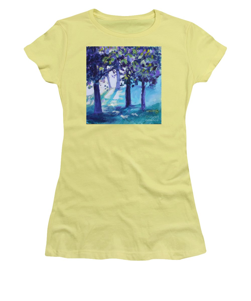 Expressionist Women's T-Shirt (Athletic Fit) featuring the painting Heart Of The Forest by Jan Bennicoff
