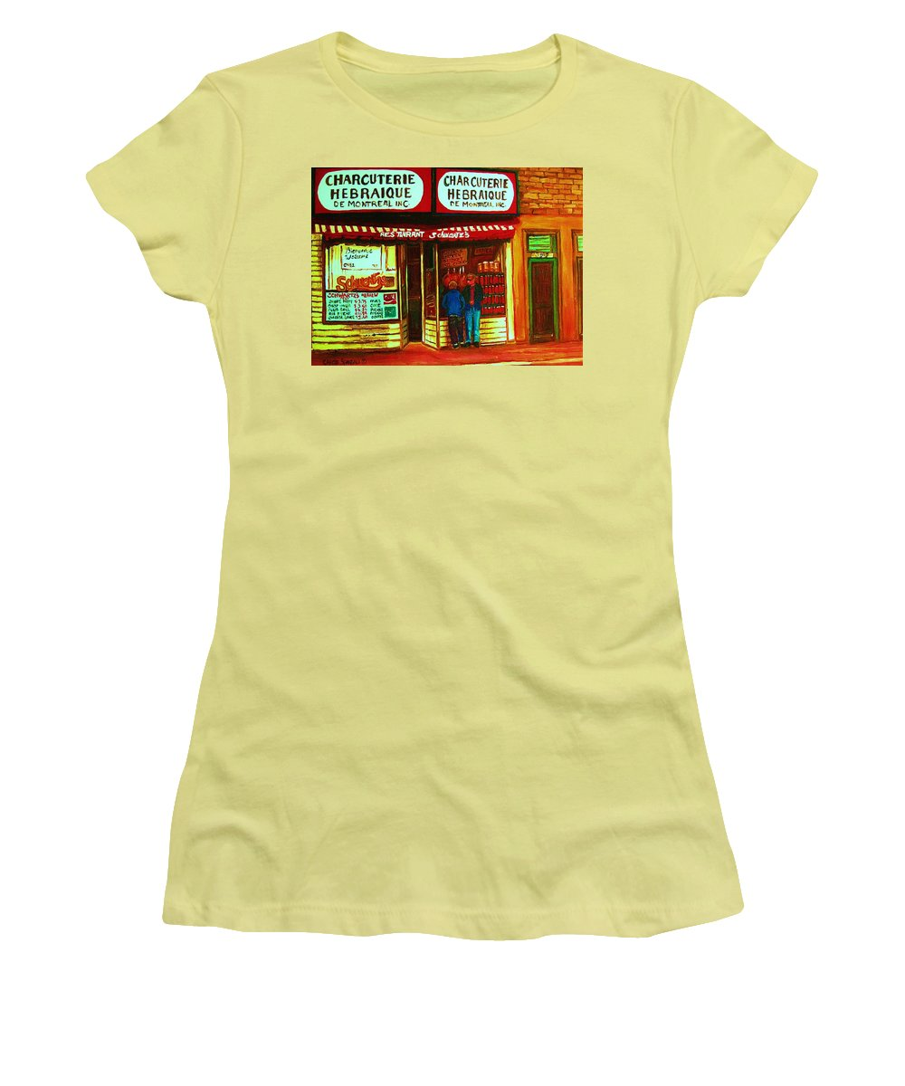Schwartzs Women's T-Shirt (Athletic Fit) featuring the painting Hebrew Delicatessen by Carole Spandau