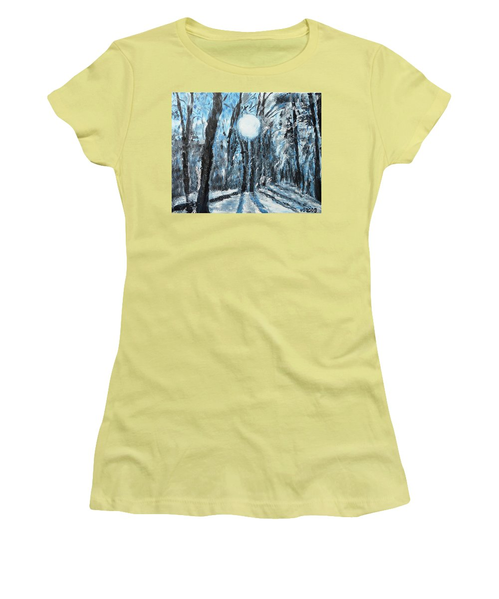 Landscape Women's T-Shirt (Athletic Fit) featuring the painting Hochleite In January by Valerie Ornstein