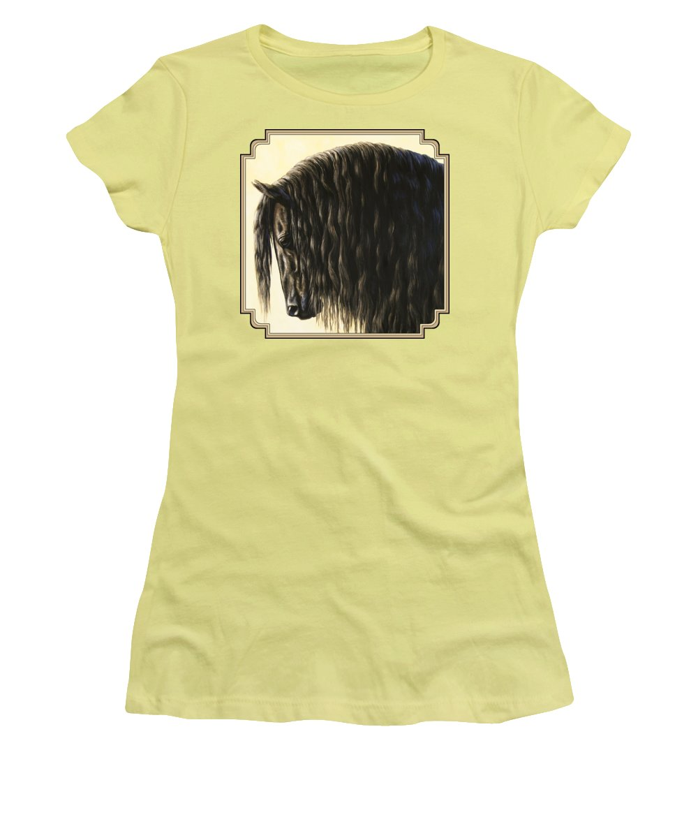 Horse Women's T-Shirt (Junior Cut) featuring the painting Horse Painting - Friesland Nobility by Crista Forest