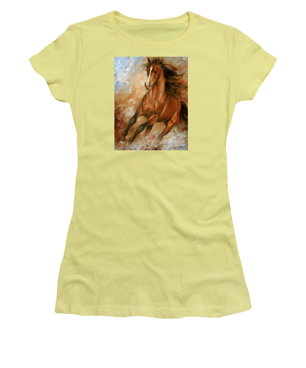 Horse Women's T-Shirt (Athletic Fit) featuring the painting Horse1 by Arthur Braginsky