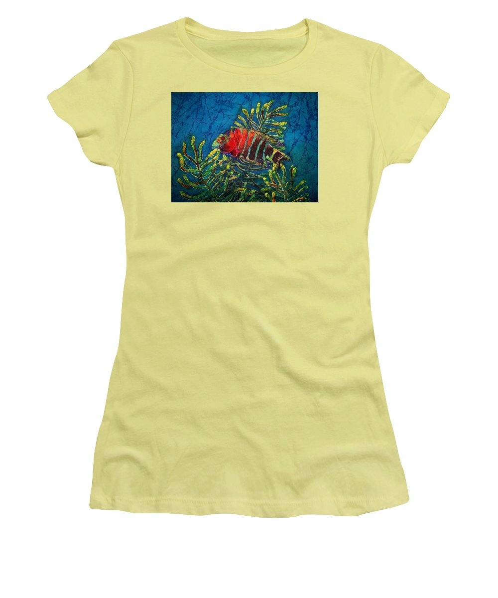 Fish Women's T-Shirt (Athletic Fit) featuring the painting Hovering - Red Banded Wrasse by Sue Duda