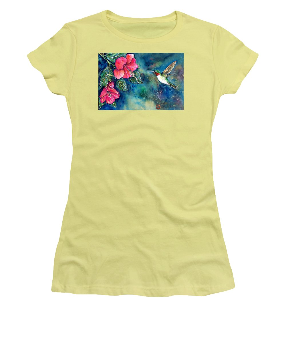 Birds Women's T-Shirt (Athletic Fit) featuring the painting Hummingbird by Norma Boeckler