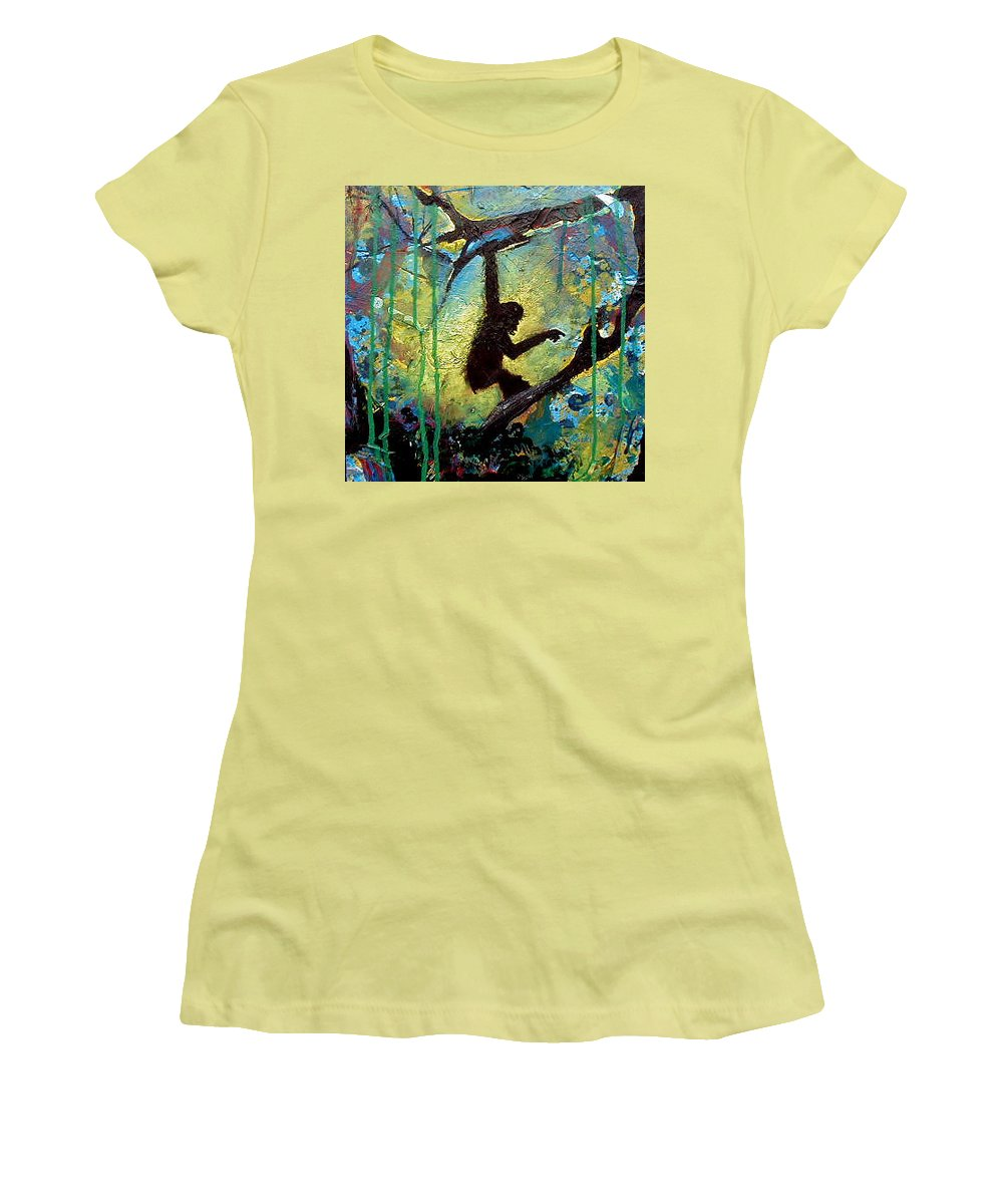Monkey Women's T-Shirt (Athletic Fit) featuring the painting In The Wild by Beverly Koski