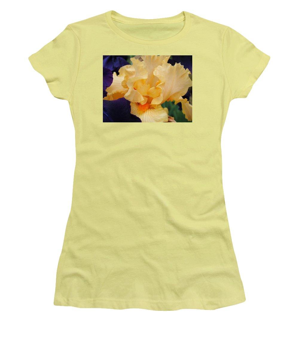 �irises Artwork� Women's T-Shirt (Athletic Fit) featuring the photograph Irises Art Prints Peach Iris Flowers Artwork Floral Botanical Art Baslee Troutman by Baslee Troutman