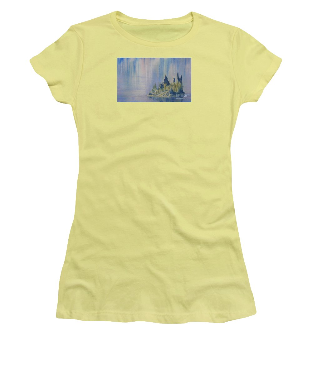 Island Women's T-Shirt (Athletic Fit) featuring the painting Isle Of Reflection by Lynn Quinn