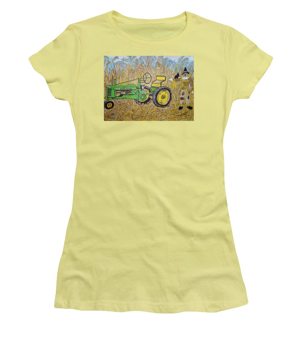 John Deere Women's T-Shirt (Athletic Fit) featuring the painting John Deere Tractor And The Scarecrow by Kathy Marrs Chandler