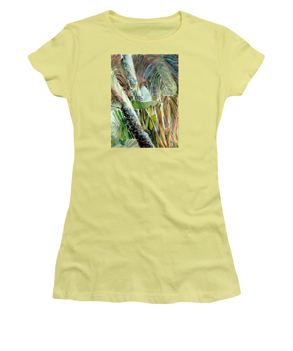 Palm Tree Women's T-Shirt (Athletic Fit) featuring the painting Jungle Light by Mindy Newman