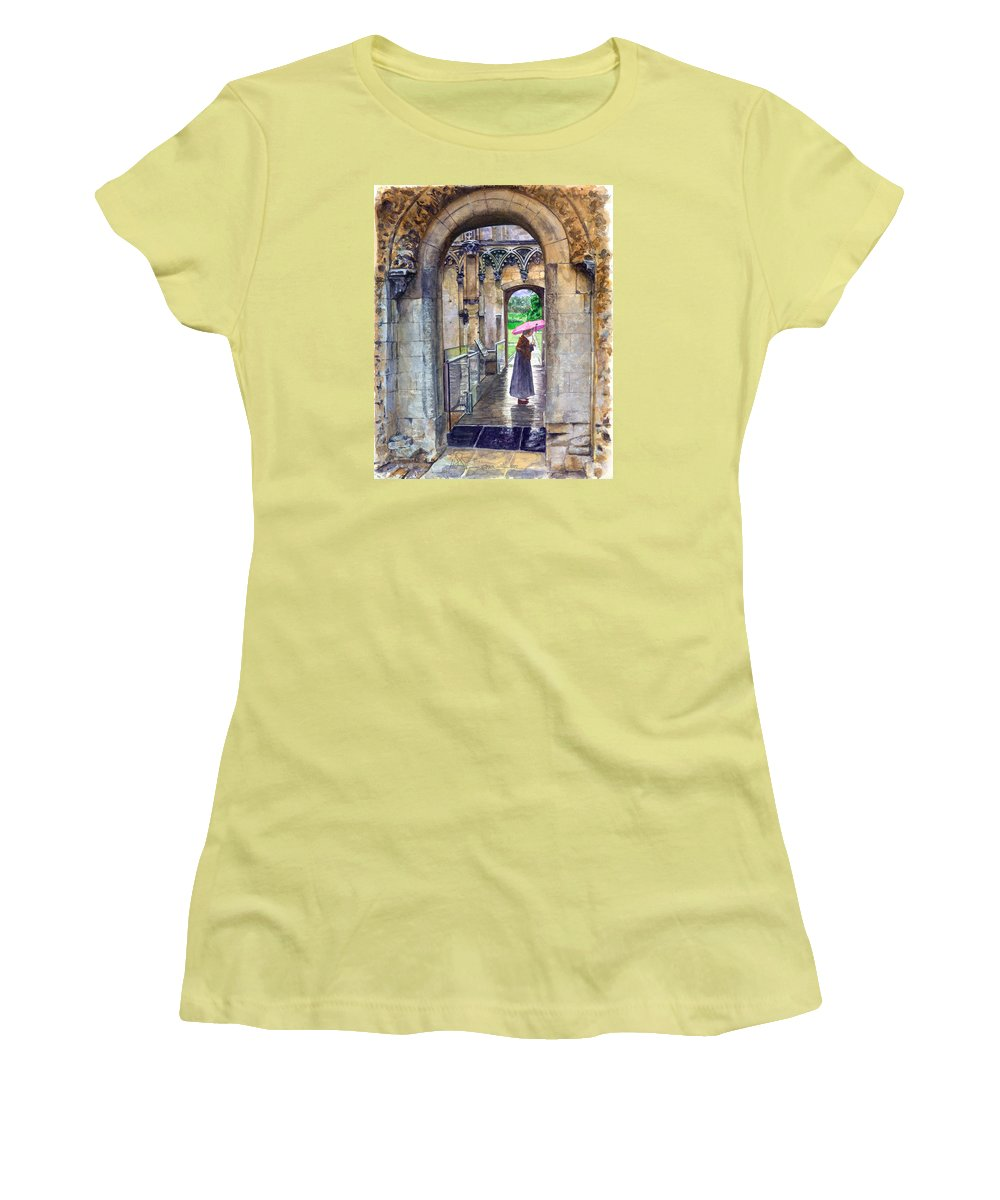 Glastonbury Women's T-Shirt (Athletic Fit) featuring the painting Lady Chapel by John D Benson