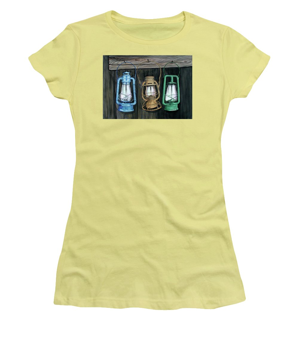 Lanterns Women's T-Shirt (Athletic Fit) featuring the painting Lanterns by Ferrel Cordle