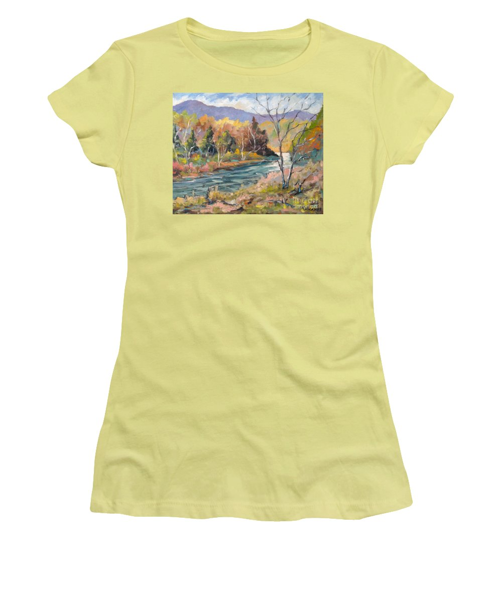 Landscape Women's T-Shirt (Athletic Fit) featuring the painting Laurentian Hills by Richard T Pranke