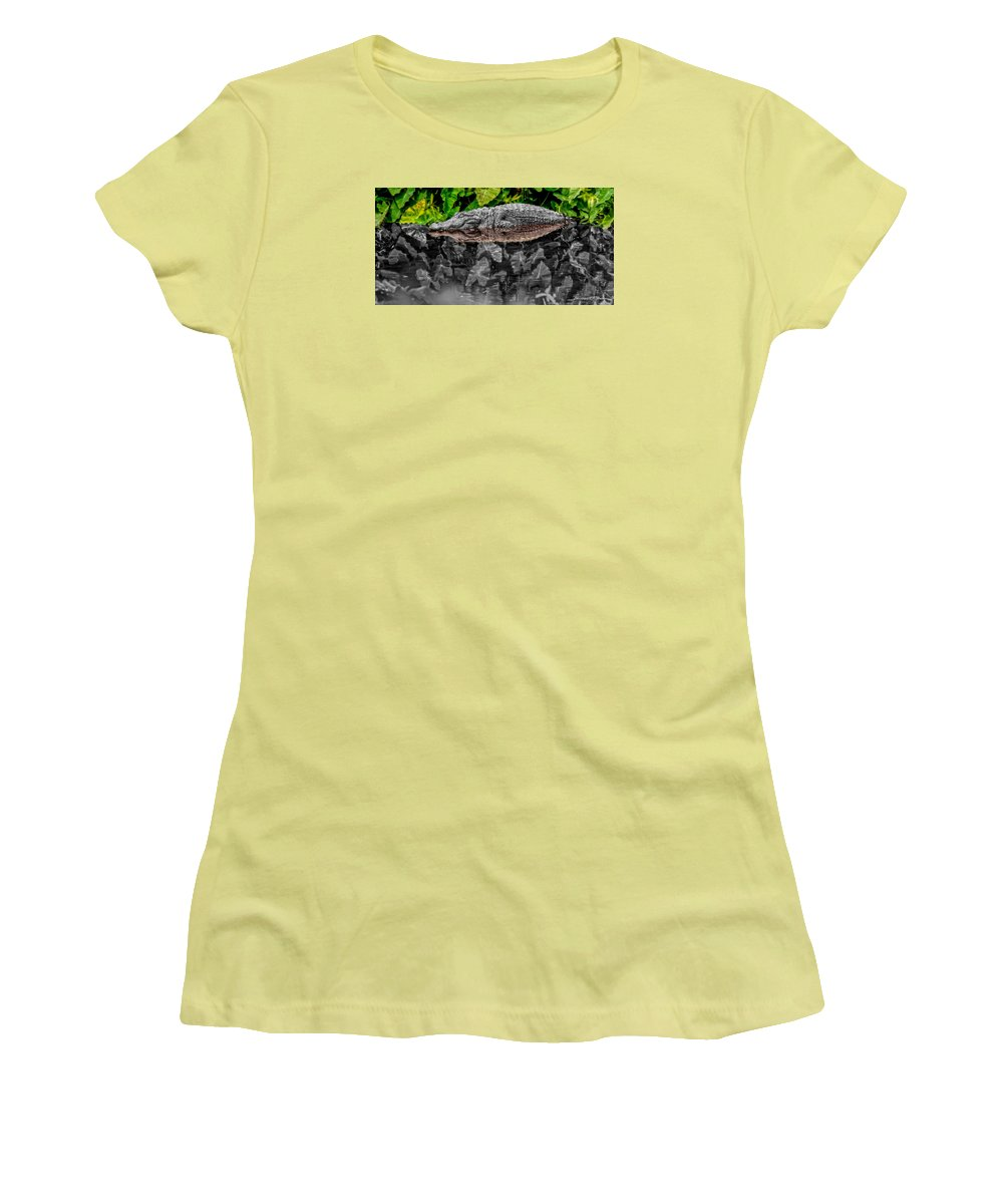 American Women's T-Shirt (Athletic Fit) featuring the photograph Let Sleeping Gators Lie - Mod by Christopher Holmes
