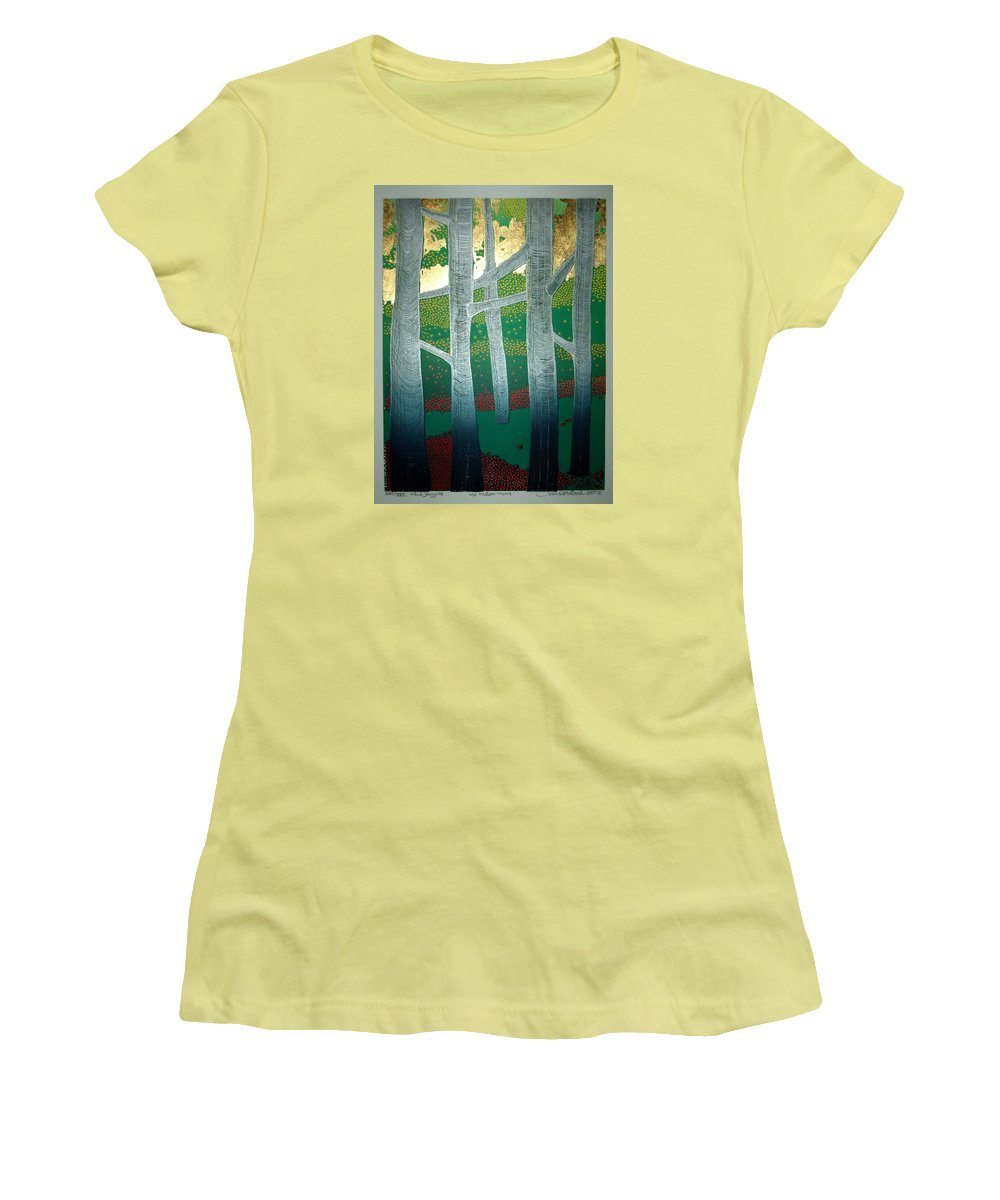 Landscape Women's T-Shirt (Athletic Fit) featuring the mixed media Light Between The Trees by Jarle Rosseland
