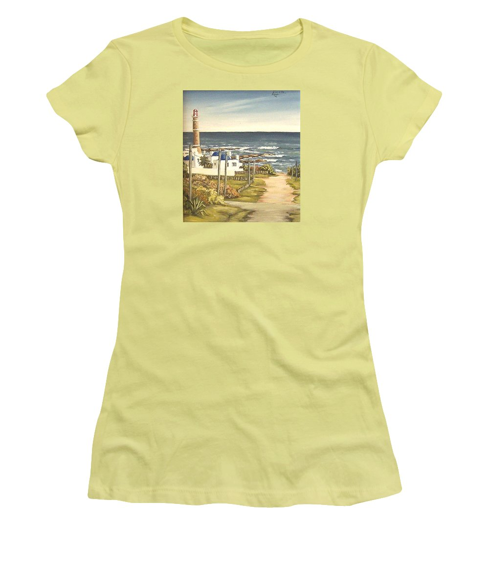 Lighthouse Seascape Sea Water Uruguay Women's T-Shirt (Athletic Fit) featuring the painting Lighthouse Uruguay by Natalia Tejera