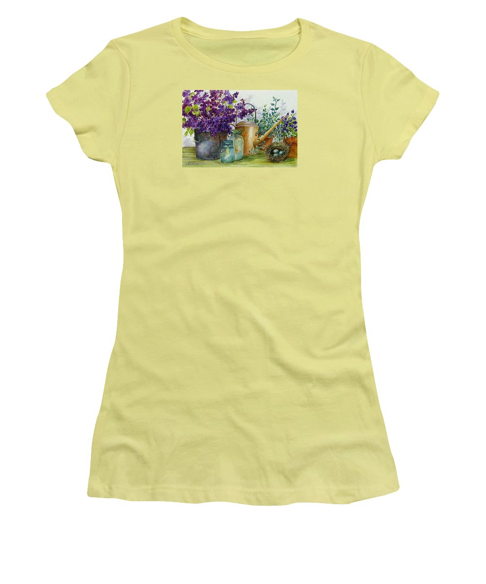 Still Life;lilacs; Ball Jars; Watering Can;bird Nest; Bird Eggs; Women's T-Shirt (Athletic Fit) featuring the painting Lilacs And Ball Jars by Lois Mountz