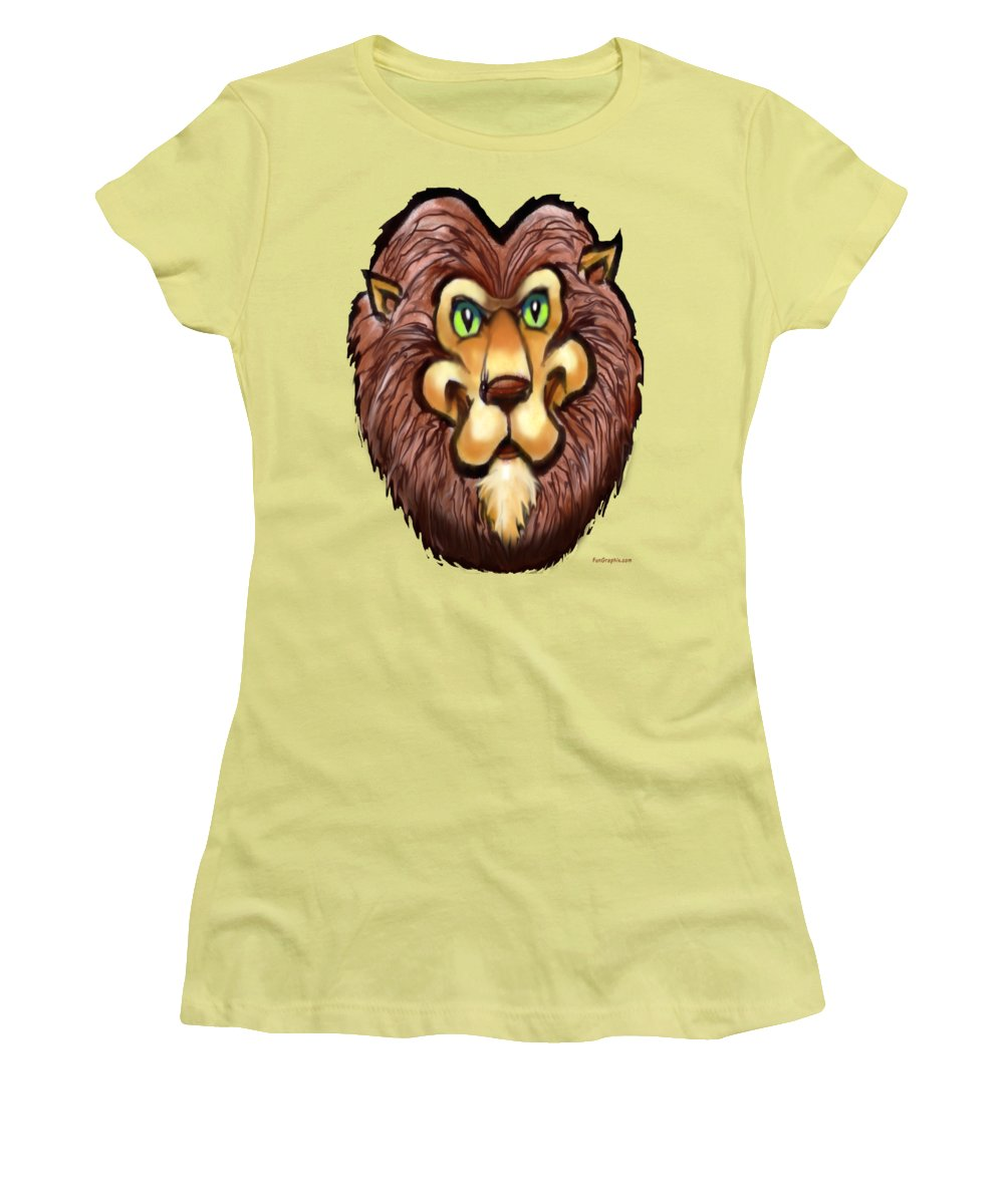 Lion Women's T-Shirt (Athletic Fit) featuring the painting Lion by Kevin Middleton