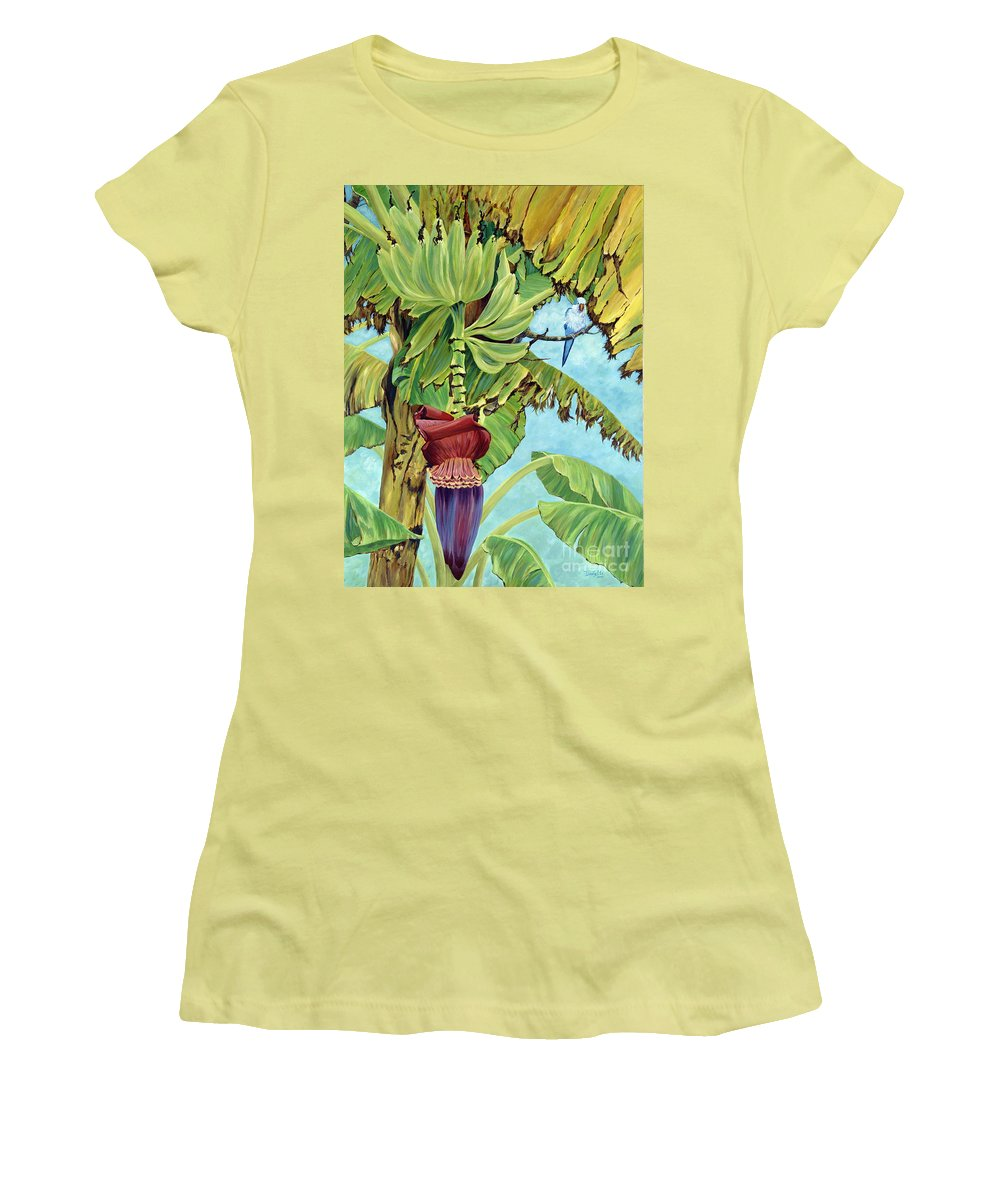 Tropical Women's T-Shirt (Athletic Fit) featuring the painting Little Blue Quaker by Danielle Perry