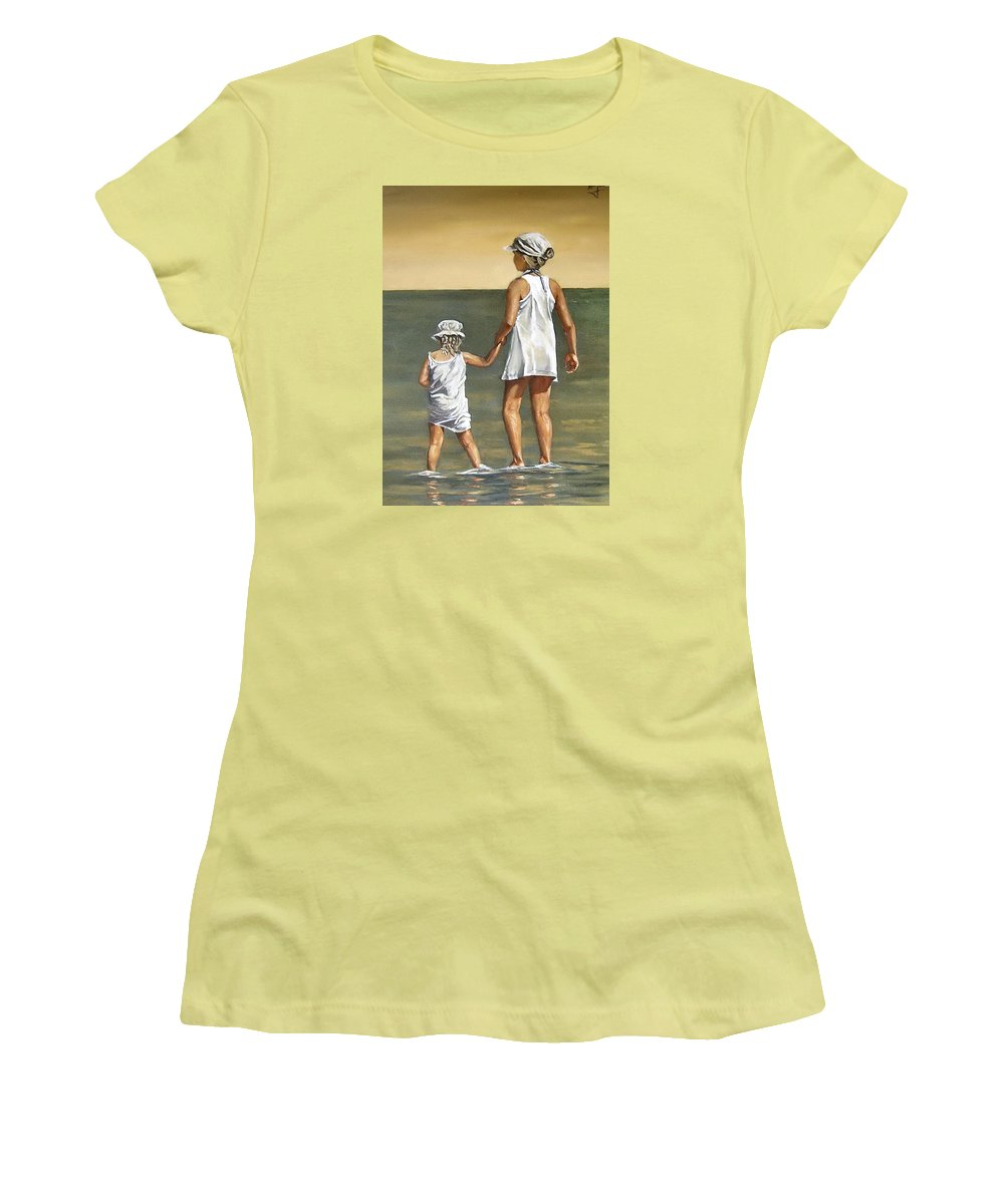 Little Girl Reflection Girls Kids Figurative Water Sea Seascape Children Portrait Women's T-Shirt (Athletic Fit) featuring the painting Little Sisters by Natalia Tejera