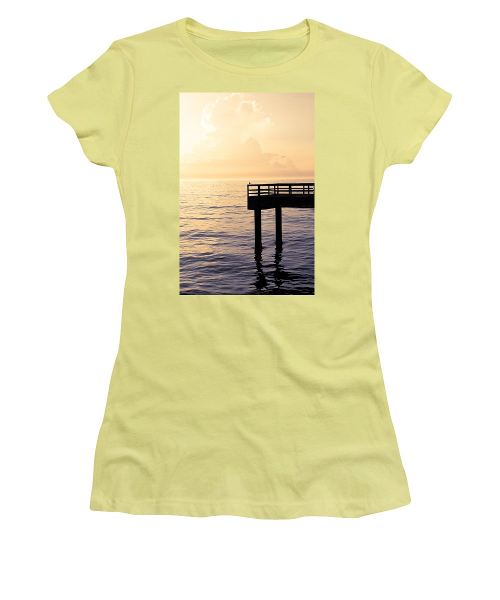Beach Women's T-Shirt (Athletic Fit) featuring the photograph Lone Bird At Morning by Marilyn Hunt