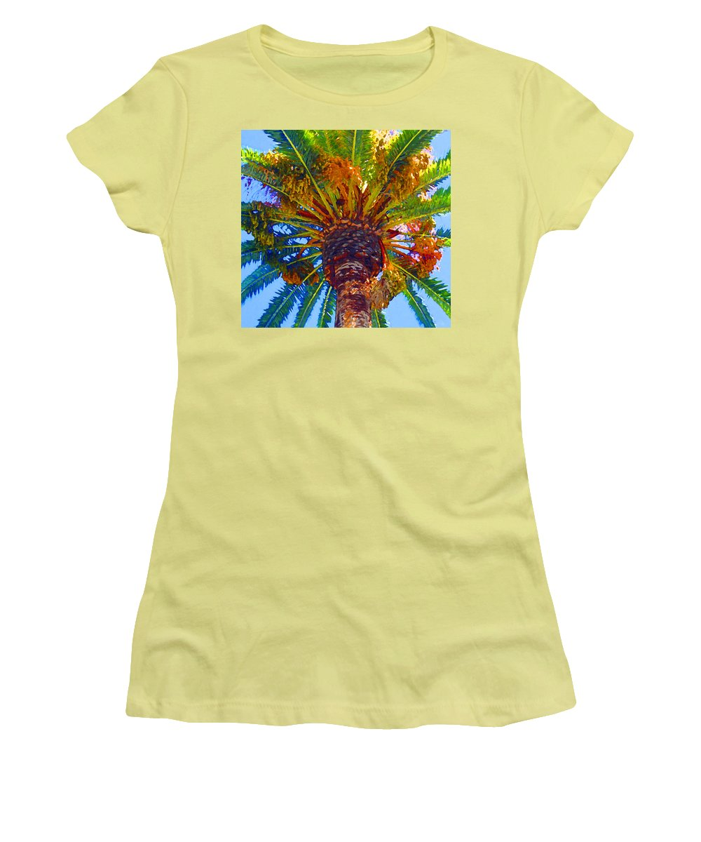 Garden Women's T-Shirt (Athletic Fit) featuring the painting Looking Up At Palm Tree by Amy Vangsgard