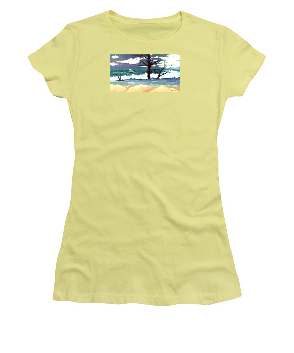 Original Watercolor Painting Women's T-Shirt (Athletic Fit) featuring the painting Lost Swan by Patricia Griffin Brett