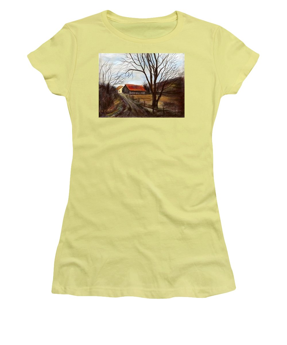 Barn Women's T-Shirt (Athletic Fit) featuring the painting Louisa Kentucky Barn by Gail Kirtz
