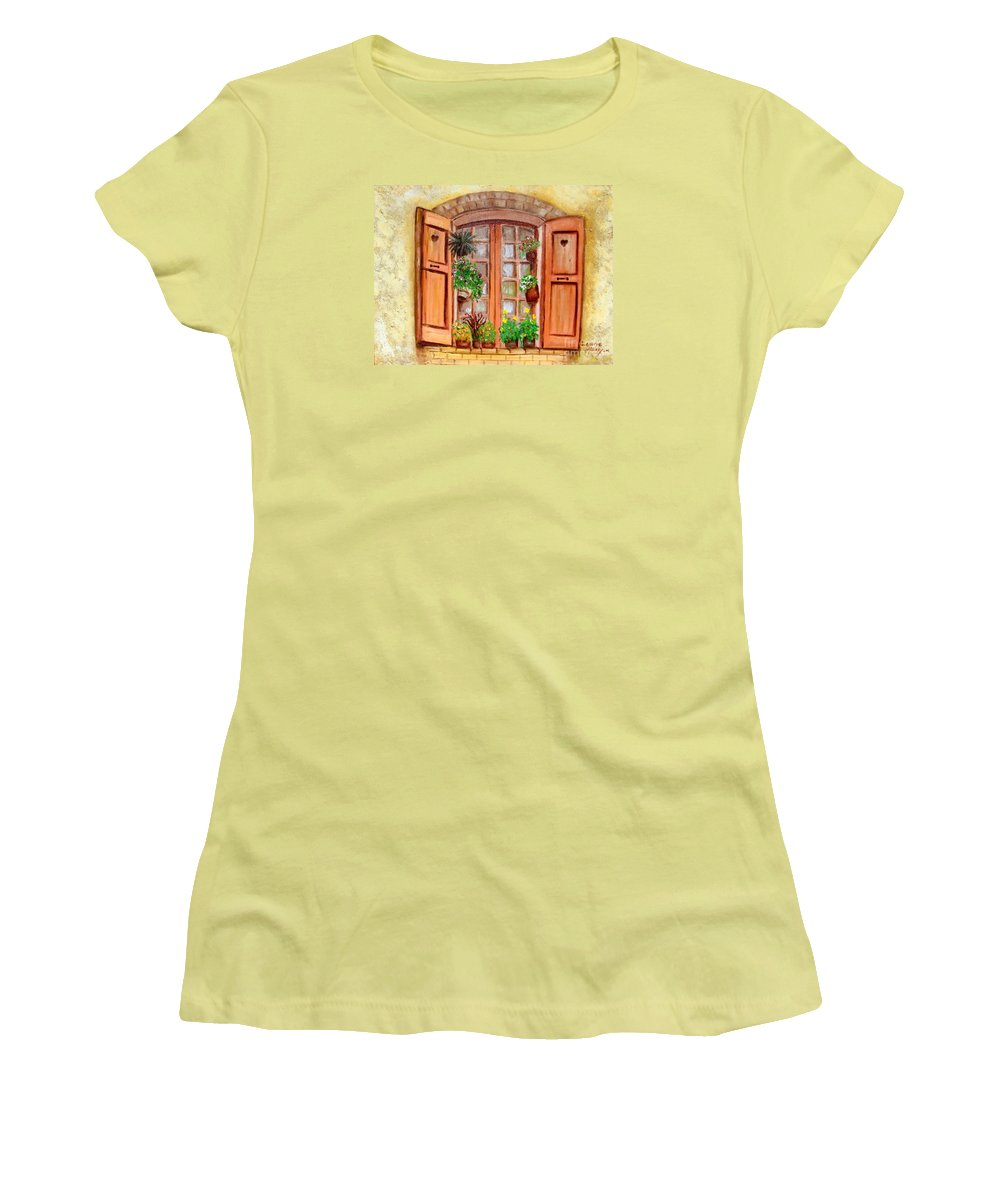 Windows Women's T-Shirt (Athletic Fit) featuring the painting Love Nest by Laurie Morgan