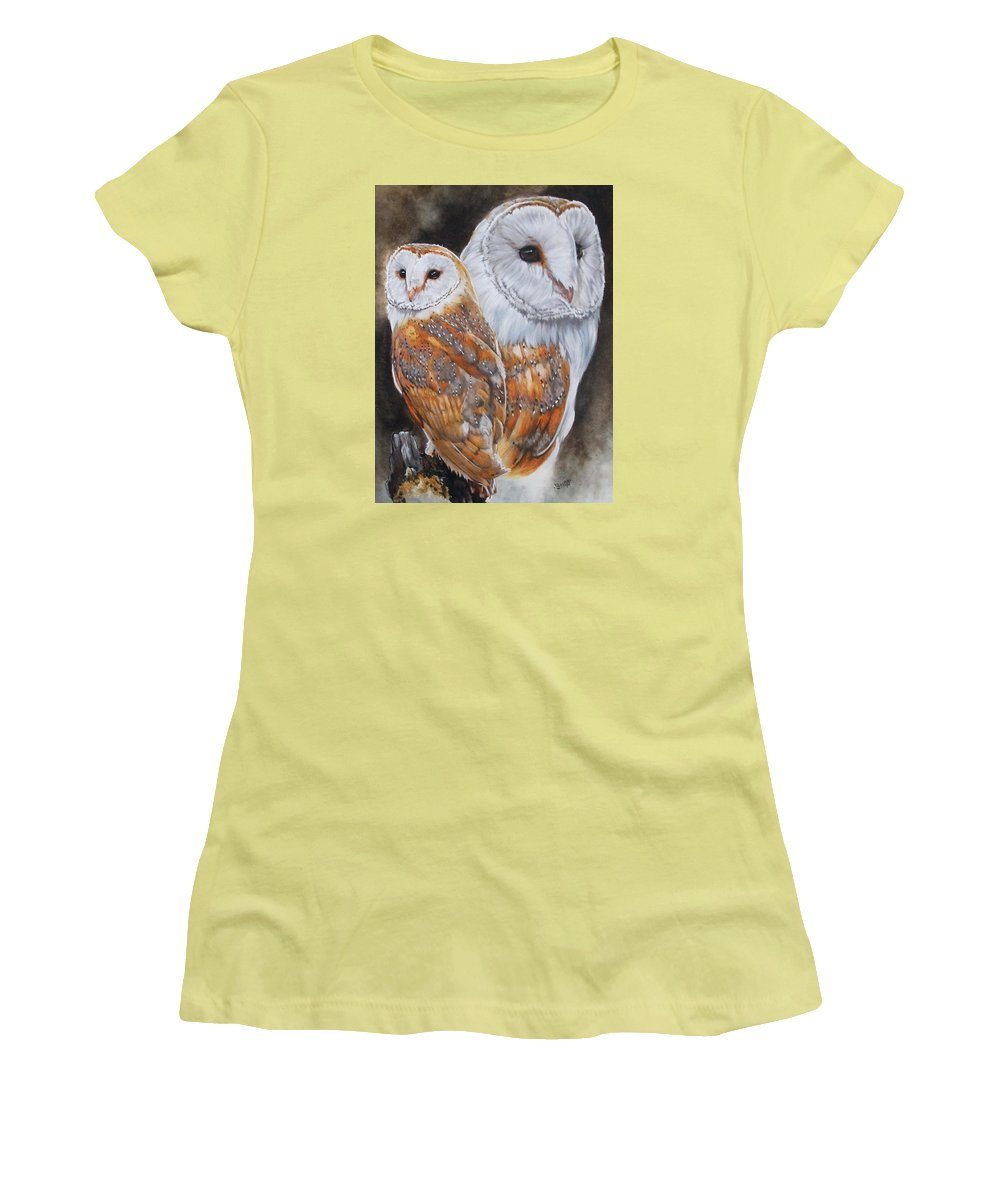 Bird Women's T-Shirt (Athletic Fit) featuring the mixed media Luster by Barbara Keith