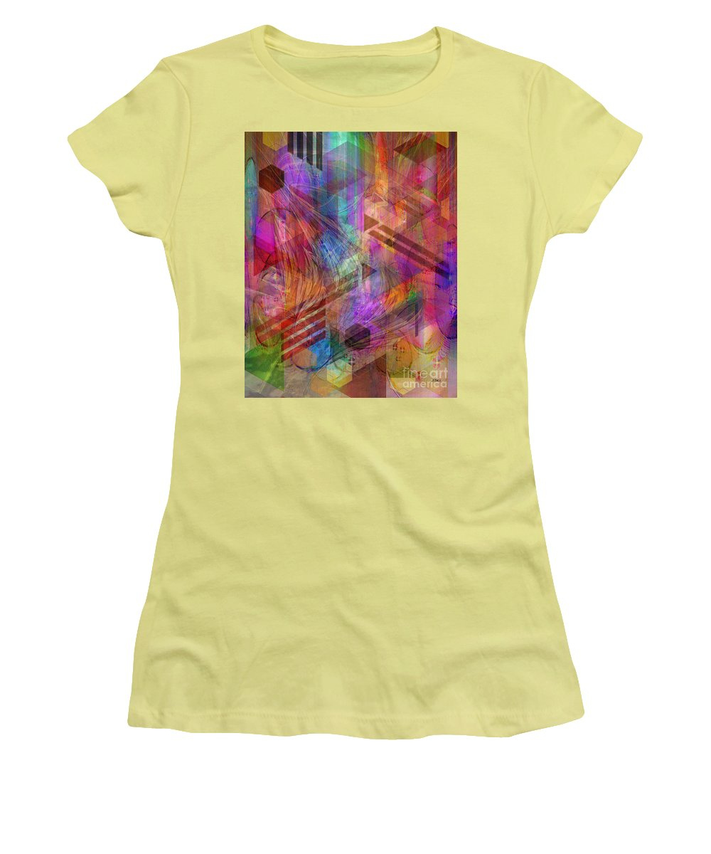 Magnetic Abstraction Women's T-Shirt (Athletic Fit) featuring the digital art Magnetic Abstraction by John Beck