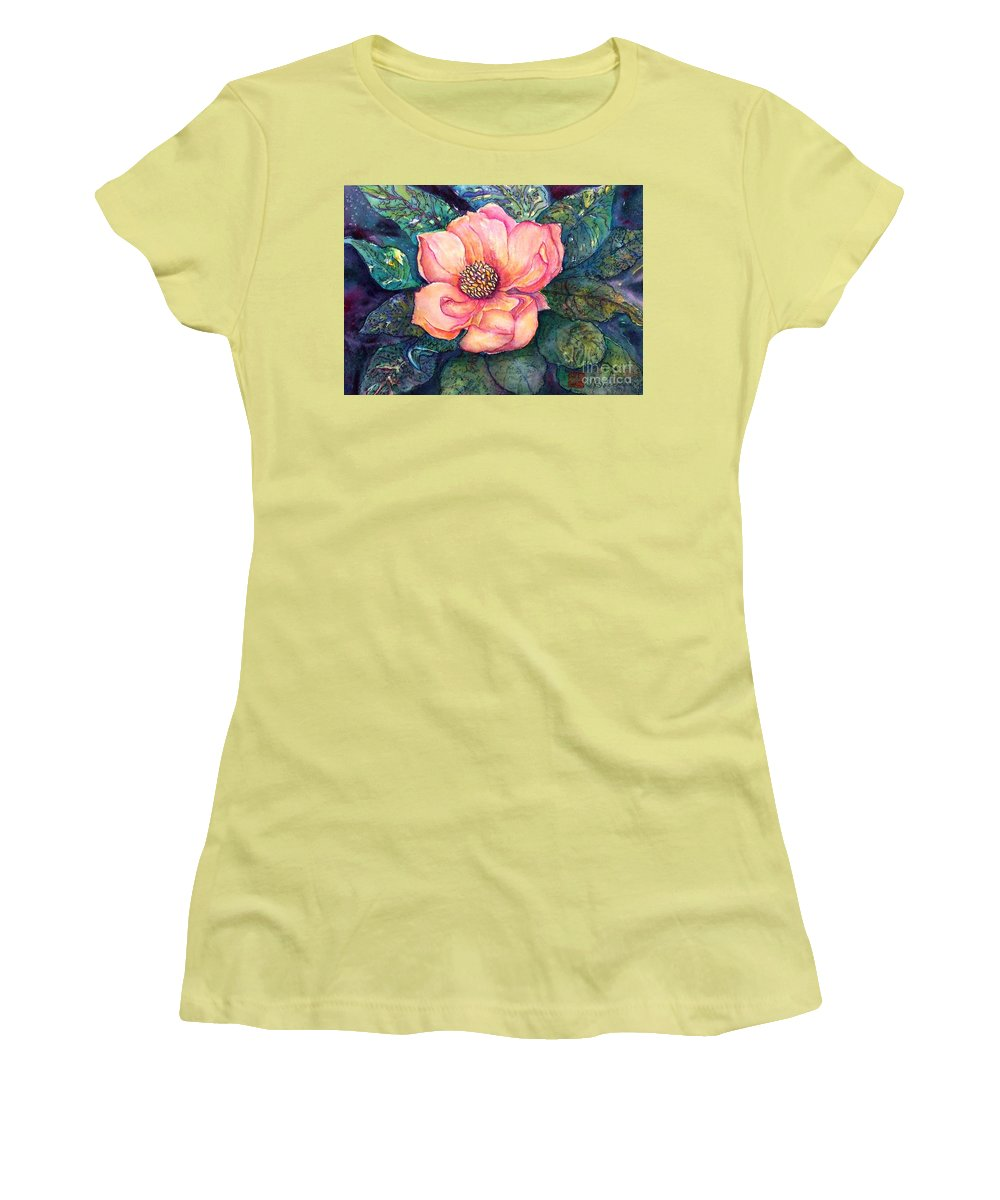 Flowers Women's T-Shirt (Athletic Fit) featuring the painting Magnolia In The Evening by Norma Boeckler