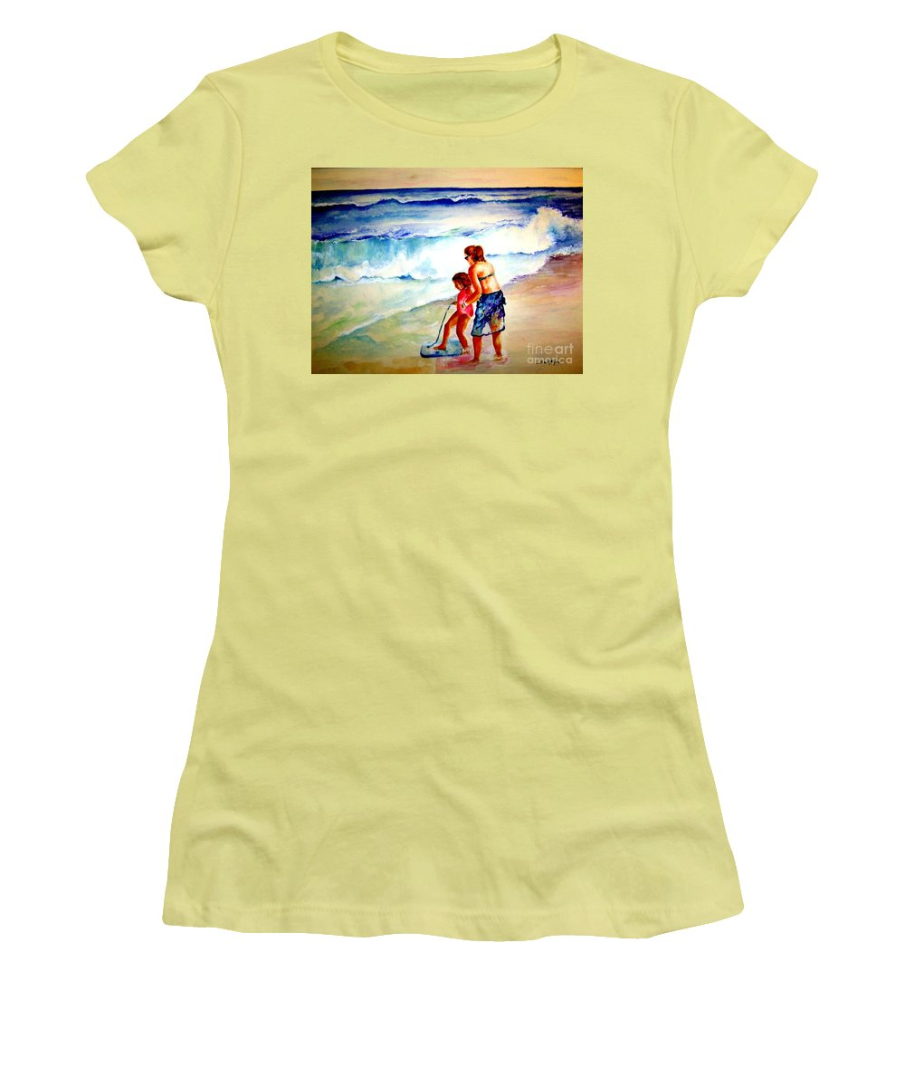 Beach Surf Women's T-Shirt (Athletic Fit) featuring the painting Making A Memory by Sandy Ryan