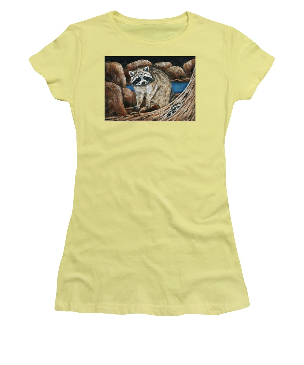 Racoon Women's T-Shirt (Athletic Fit) featuring the painting Mama Racoon by Ruth Bares