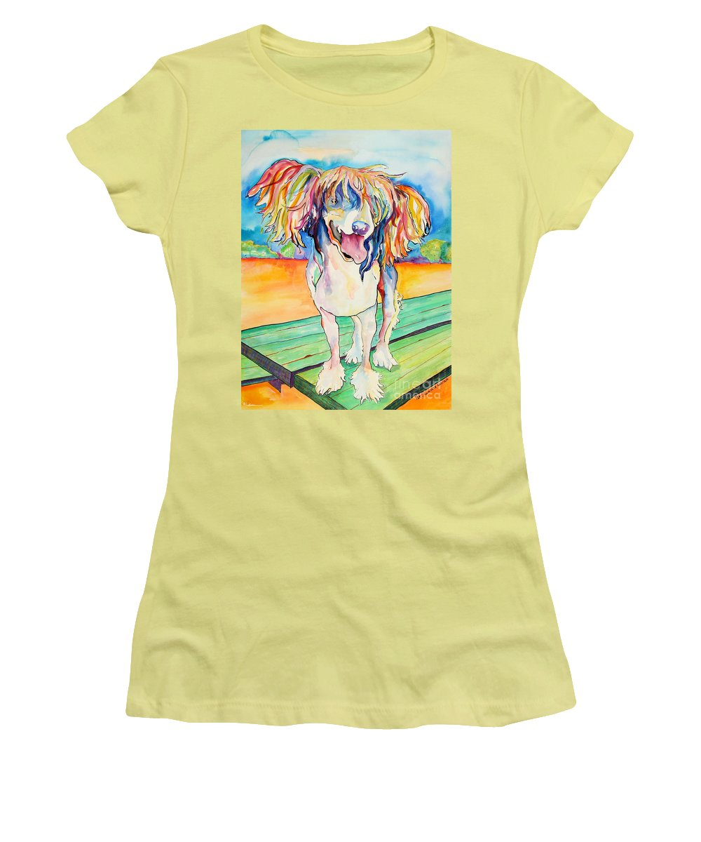 Chinese Crested Women's T-Shirt (Athletic Fit) featuring the painting Mango Salsa by Pat Saunders-White