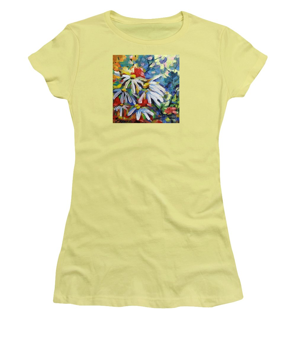 Art Women's T-Shirt (Athletic Fit) featuring the painting Marguerites by Richard T Pranke