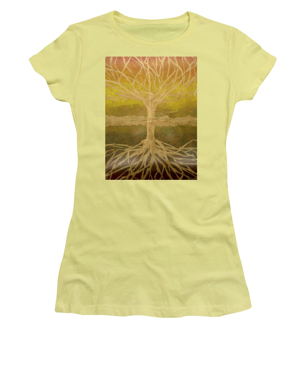 Abstract Women's T-Shirt (Junior Cut) featuring the painting Meditation by Leah Tomaino