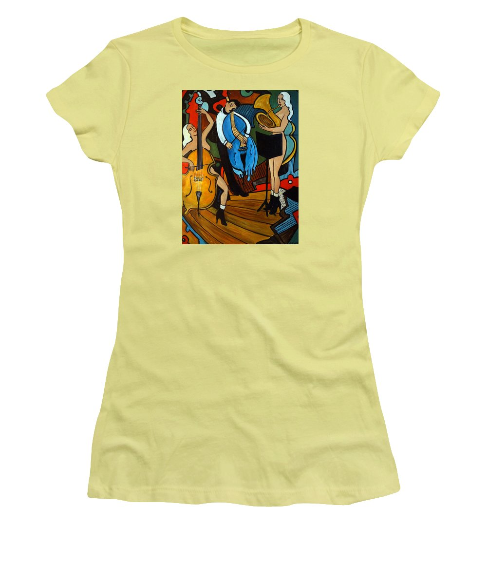 Musician Abstract Women's T-Shirt (Athletic Fit) featuring the painting Melting Jazz by Valerie Vescovi