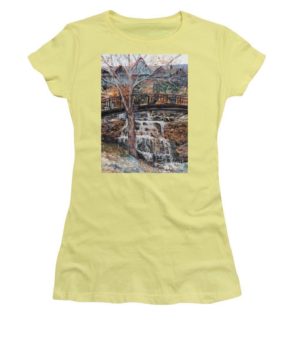 Waterfalls Women's T-Shirt (Athletic Fit) featuring the painting Memories by Nadine Rippelmeyer