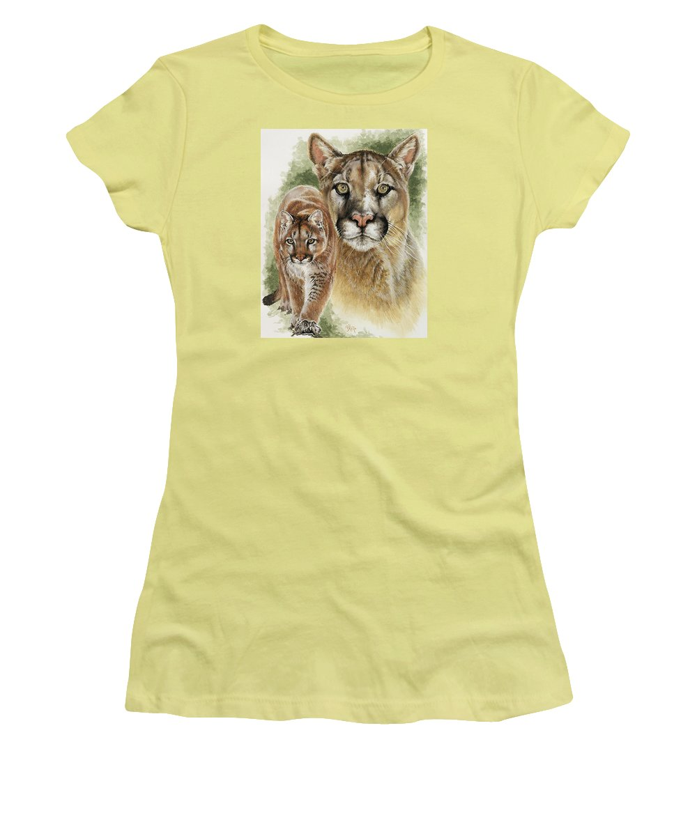 Cougar Women's T-Shirt (Athletic Fit) featuring the mixed media Mighty by Barbara Keith