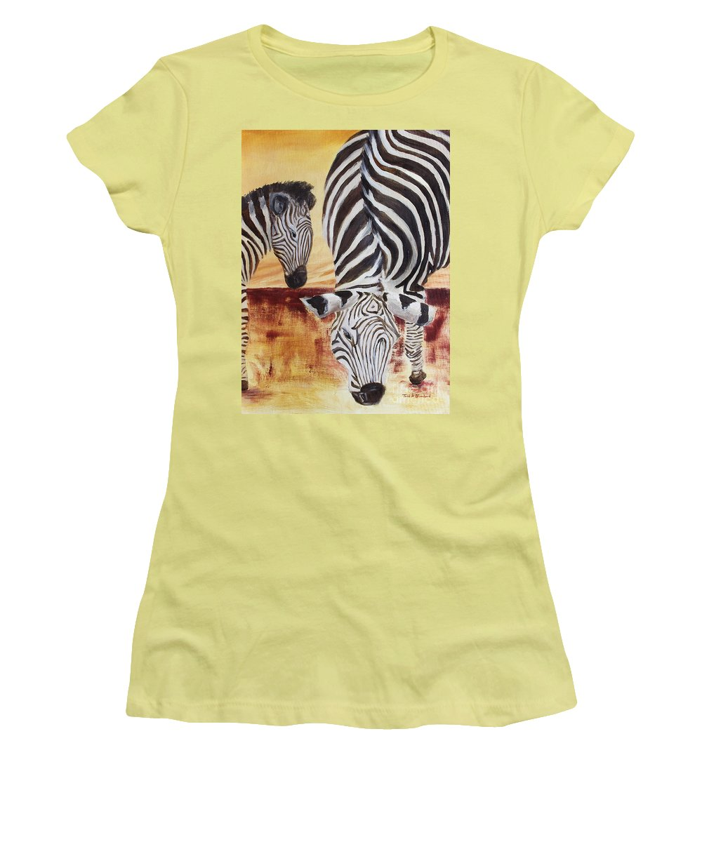 Animal Women's T-Shirt (Athletic Fit) featuring the painting Momma And Baby by Todd A Blanchard