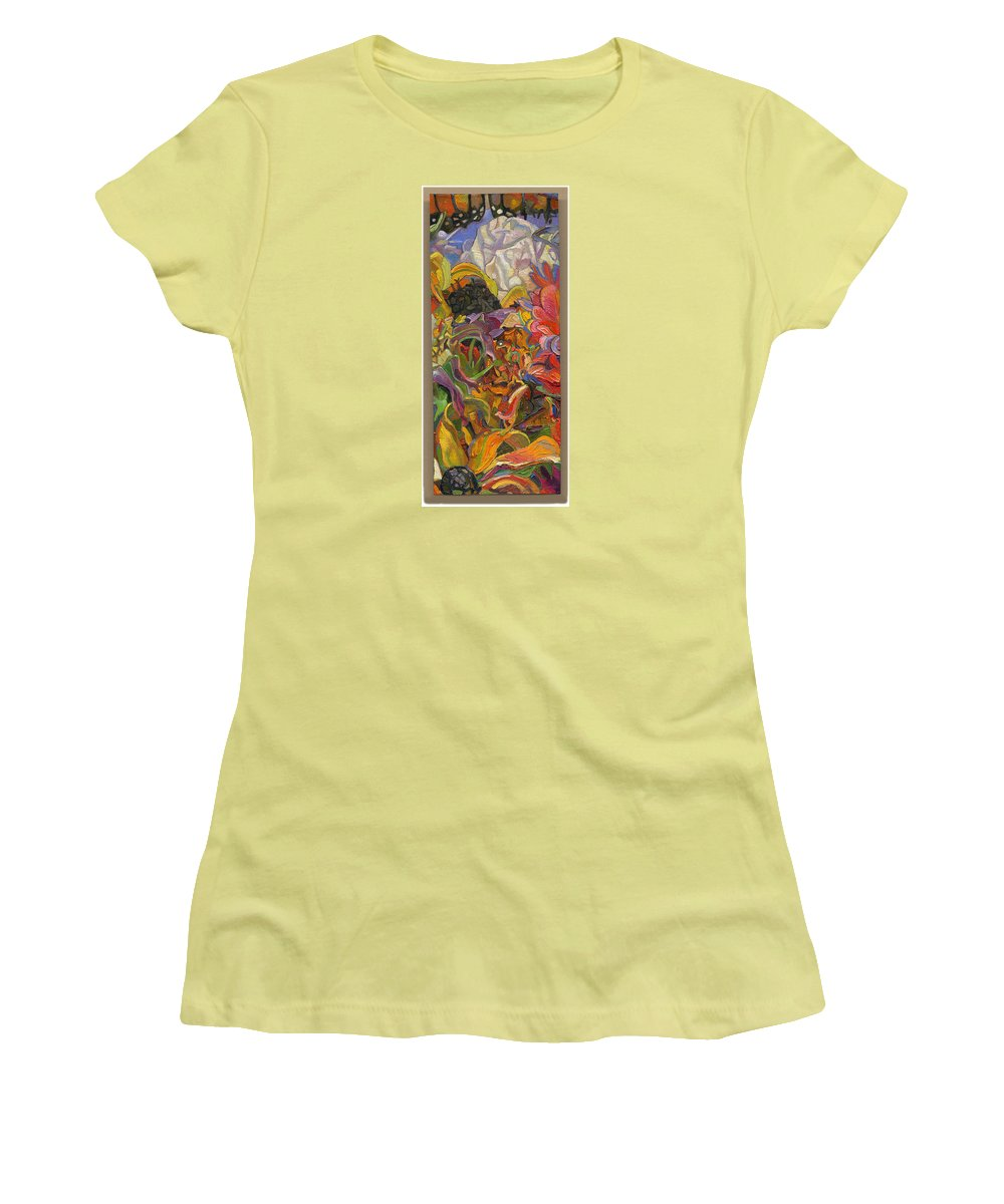 Flowers Women's T-Shirt (Athletic Fit) featuring the painting Monarch Mountain by Juel Grant