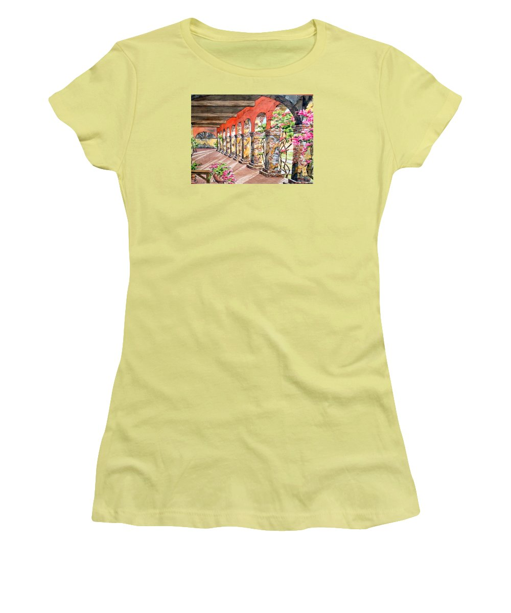 Landscape Women's T-Shirt (Athletic Fit) featuring the painting Monasterio by Tatiana Escobar
